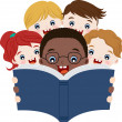 Vettoriale Stock : Multicultural children reading book