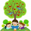 Stock Vector: Children reading book under apple tree