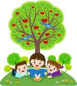 Children reading book under apple tree — Stock Vector