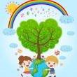 Stock Vector: Children holding earth with love