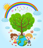 Children holding earth with love — Stock Vector