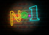 Neon Number One Sign On A Face Brick Wall — Stock Photo
