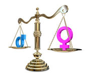 Gender Inequality Balancing Scale — Stock Photo