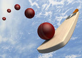 Cricket Bat With Ball Flight Path — 图库照片