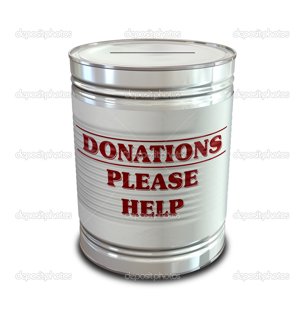 An everyday tin can transformed into a donation box with a coin slot and a label that reads donations please help  Stock Photo #11220976