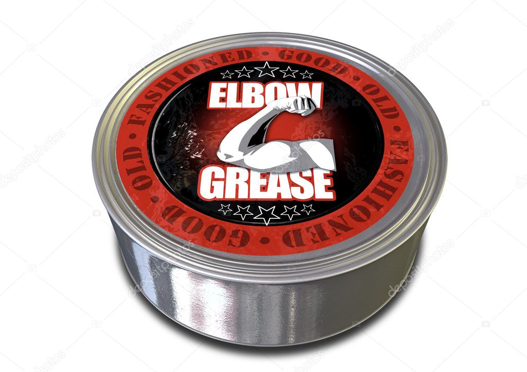 A metal tin of a product labelled good old-fashioned elbow grease with a flexed arm illustration — Stock Photo #11441672