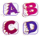 Alphabet a, b, c, d — Stock Vector