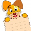 Smiling dog with a sheet of notebook — Stock Vector