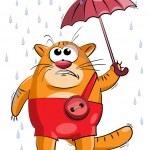 Fat cat under a small umbrella — Stock Vector