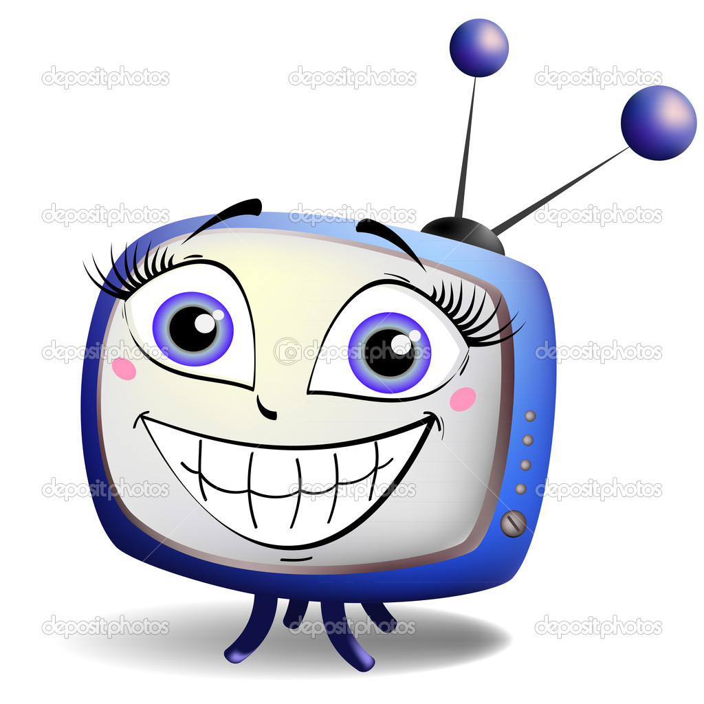 Blue TV with a happy smile on the screen — Stock Vector #11039378