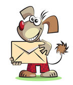 Cartoon dog with the mail envelope — Stock Vector