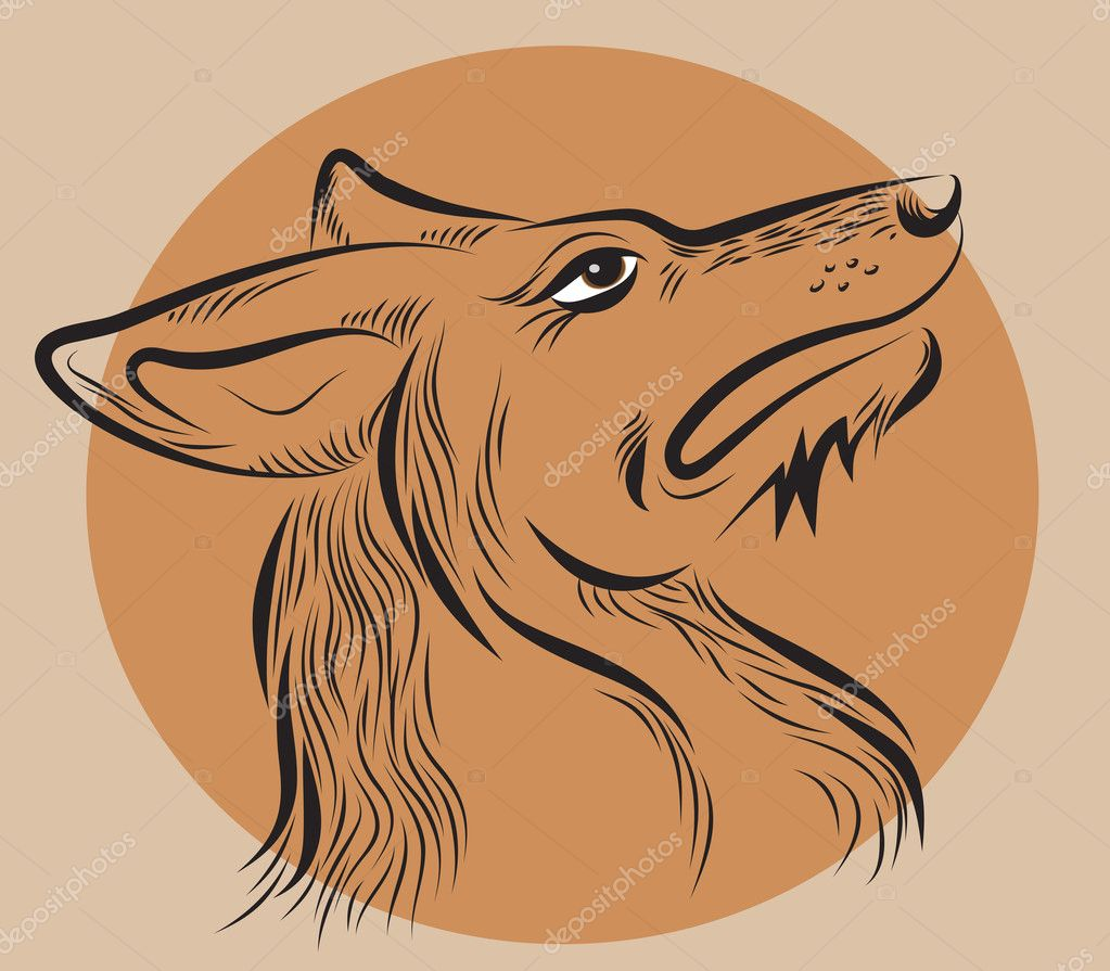 Dog's head, drawn by hand  on a brown background — Stock Vector #11430613