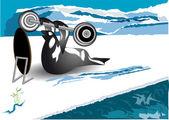Walrus raises barbell — Stock Vector