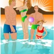 Royalty-Free Stock Vector Image: Family swims