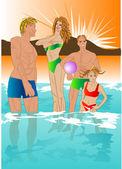 Family swims — Stock Vector