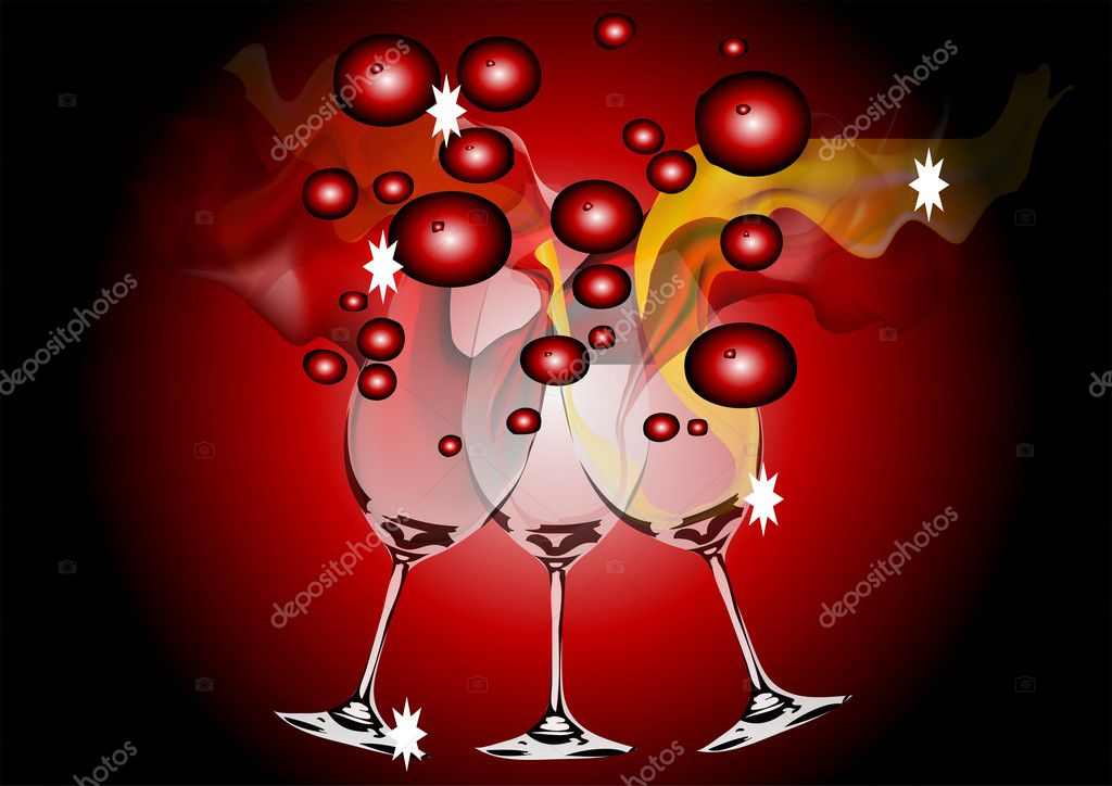 Three glasses of wine on the black and red background — Stock Vector #11418399