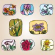 Set of icons flowers — Stock Vector