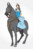 The animation princess on a horse — Stock Vector