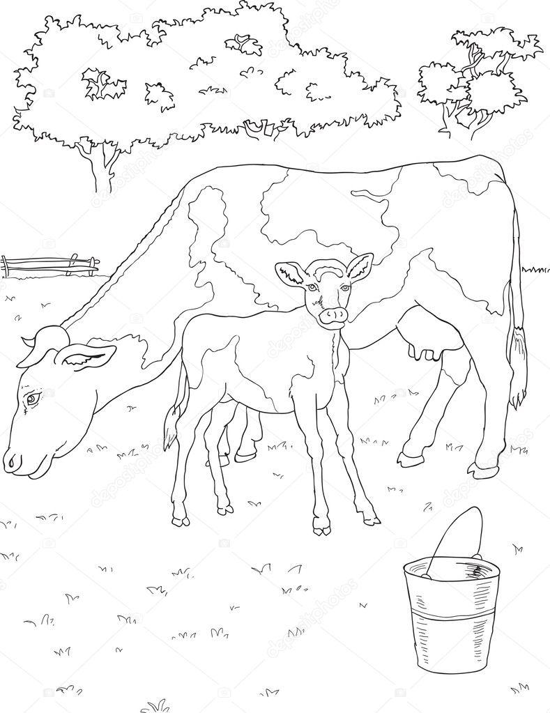 Coloriage vache et veau image vectorielle matreshka 11783133 - Coloriage petit veau ...