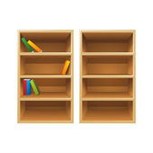 Vector wood bookshelves — Stock Vector