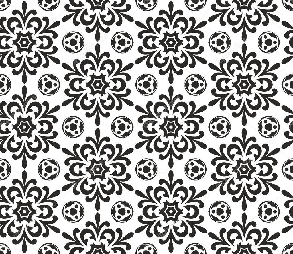 Abstract black and white seamless wallpaper pattern  Stock Vector #11629559