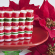 Ribbon Christmas Candy on White - Stock Photo