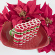 Ribbon Candy on Red Plate with Poinsettias - Stock Photo