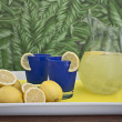 Fresh Lemonade Pitcher on Tray - Stock Photo