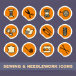 Stock Vector: Sewing and needlework icons