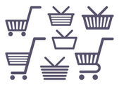 Icons of carts and baskets — Vector de stock