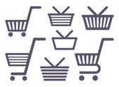 Ikony vozíky a košíky — Stock vektor