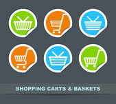 Сarts and baskets for shopping — Stock Photo