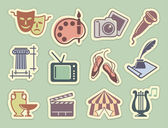 Art icons on stickers — Stock Vector