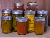 Homemade preserves and fruits — Stock Photo
