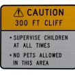 Stock Photo: Caution hazardous cliff alert sign