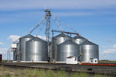 Metal grain storage silo facility — Stock Photo