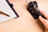 Telegraph key and notebook — Stock Photo
