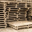 Pallets stacked ready for use — Stock Photo