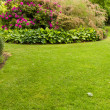 Foto Stock: Lawn with flower garden