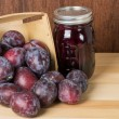 Prune plums with jar of jam — Stock Photo