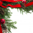 Christmas corner border with red bow - Stock Photo