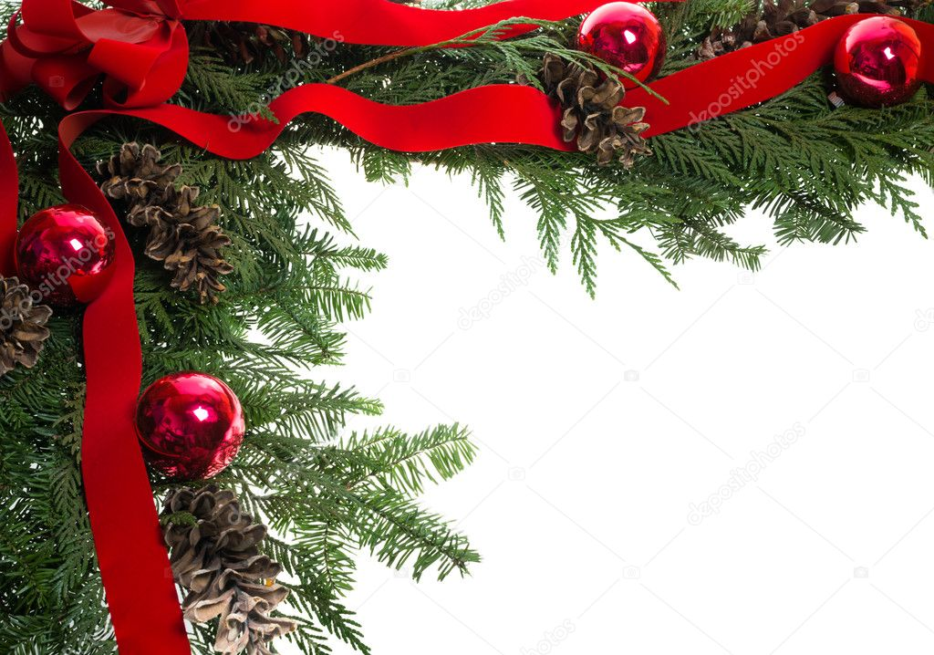 Christmas corner border with red bow and pine cones  Stock Photo #12034349