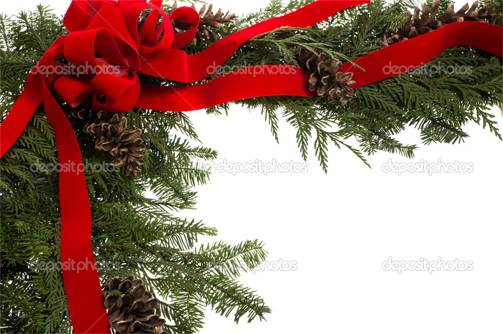 Christmas corner border with pine cones and red bow — Stock Photo #12034381