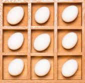 Uova bianche in scatola di legno ombra — Foto Stock