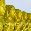 Group of golden buddha — Stock Photo