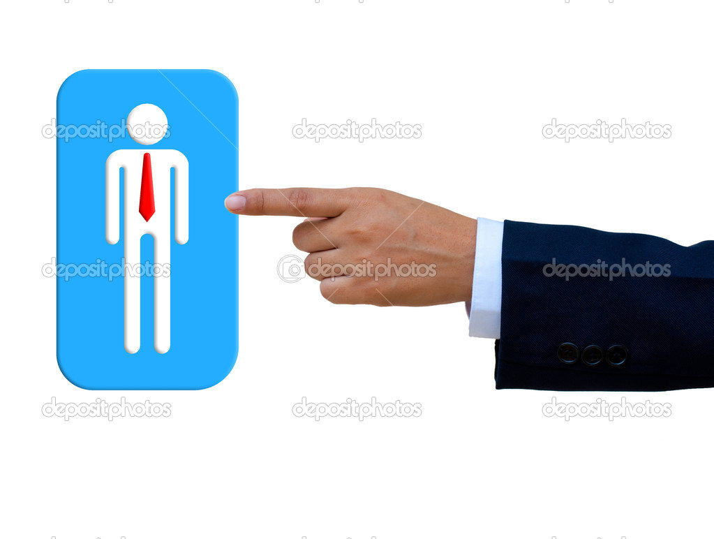 Push to select person to isolated with white background — Stock Photo #11032621