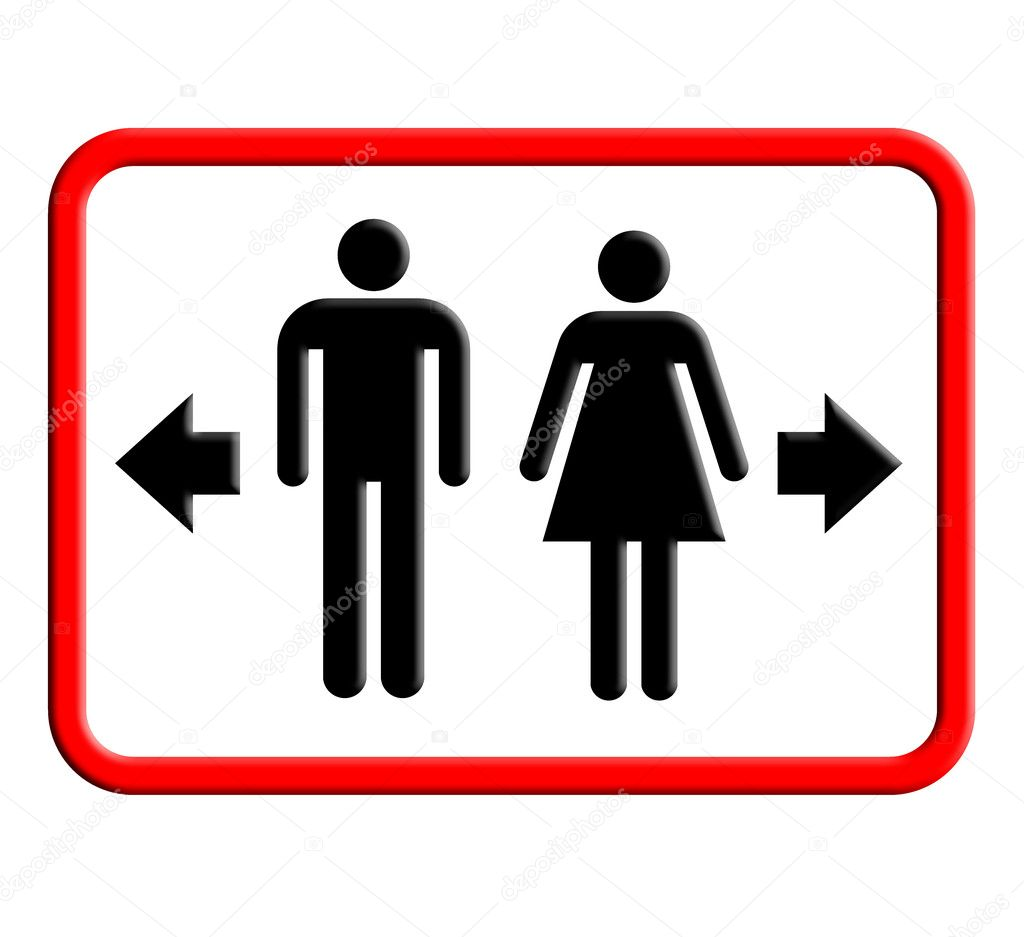Restroom And Toilet Sign Plate With Icon Stock Photo