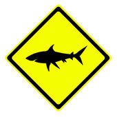 Shark in warning traffic sign — Stock Photo