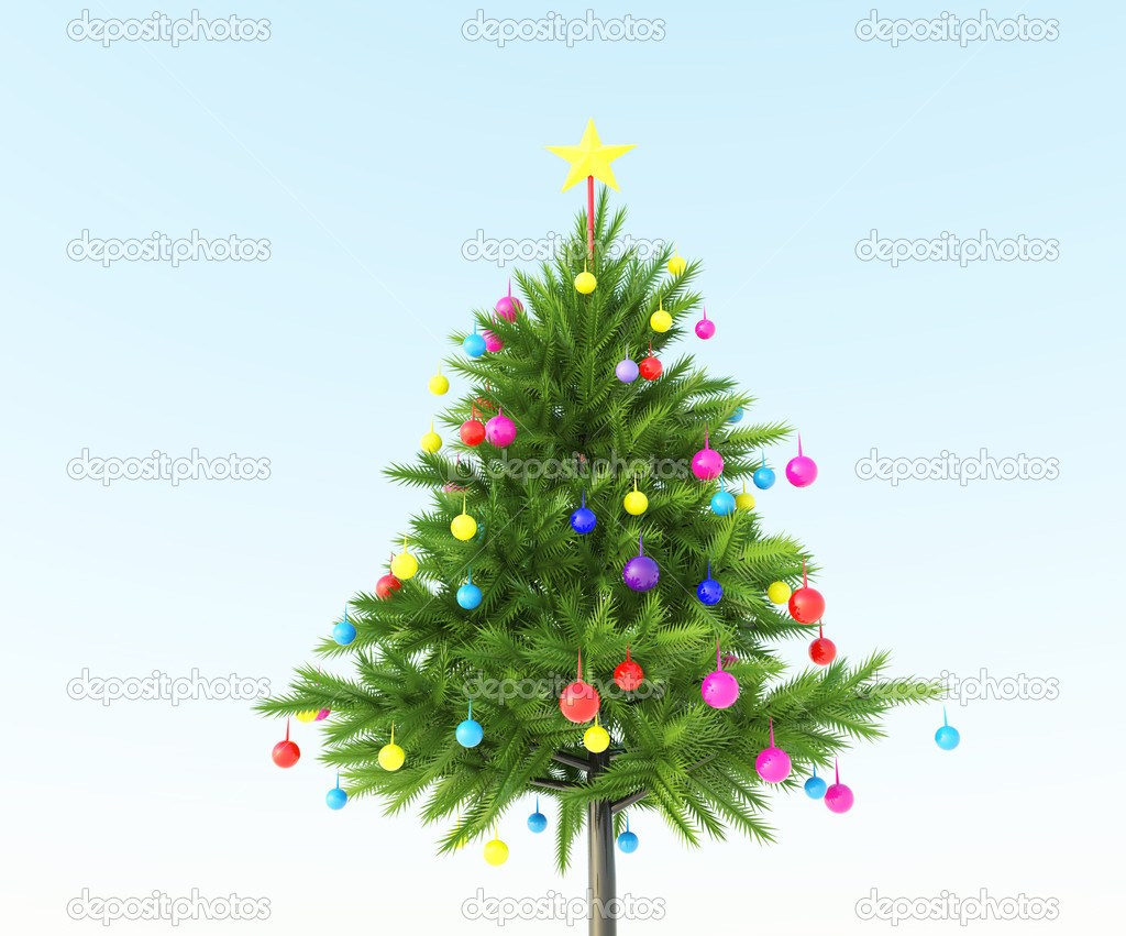The Christmas tree with colored sphere ball — Stock Photo #11965783