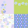 Seamless patterns with floral fabric texture — Imagens vectoriais em stock
